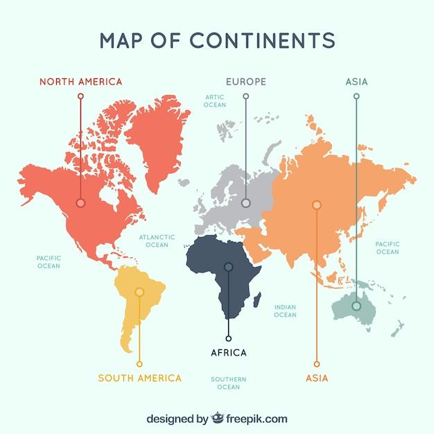 Mehrfarbige karte der kontinente Premium Vektoren