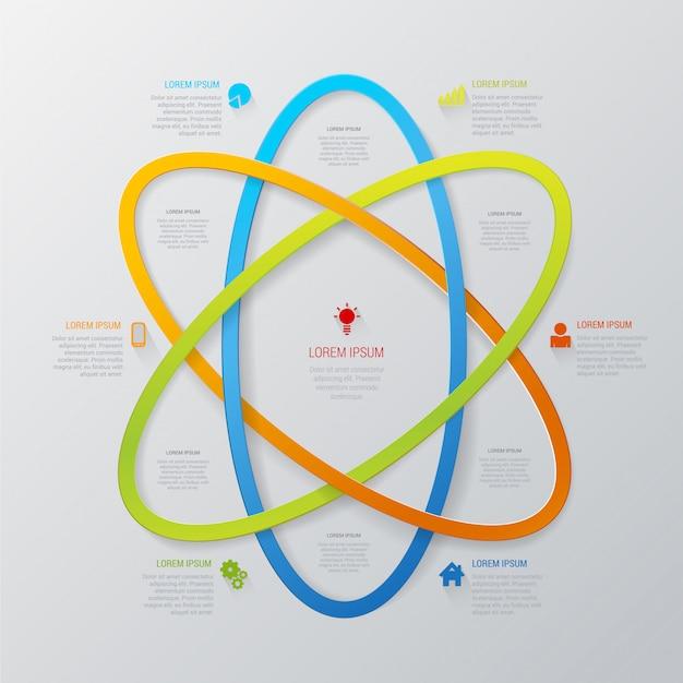 Mehrfarbige linienbereich-abstrakte technologie-infografikschablone im atomstil. Kostenlosen Vektoren