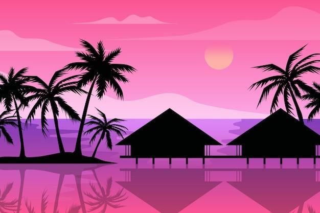 Mehrfarbige palm silhouetten tapete Kostenlosen Vektoren