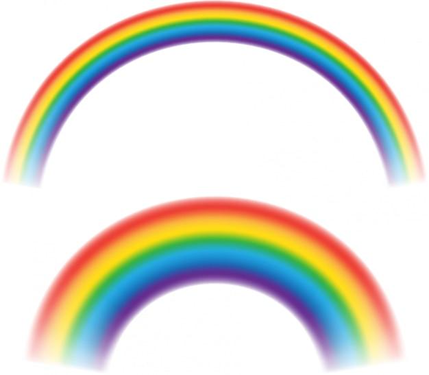 Mehrfarbige regenbogenstreifen lokalisiert auf weißem hintergrund. rundbogen der spektrumfarben. Premium Vektoren