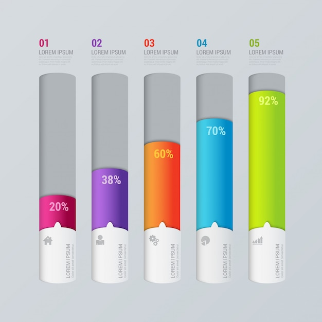 Mehrfarbige schritte indikator balkendiagramm infografiken vorlage Kostenlosen Vektoren