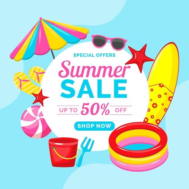 Mehrfarbiger sommerschlussverkauf Kostenlosen Vektoren