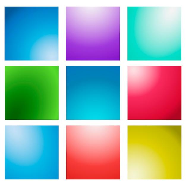 Mehrfarbiger unscharfer hintergrundsatz des abstrakten kreativen konzeptvektors. Premium Vektoren