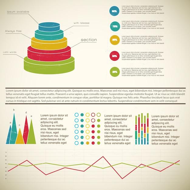 Mehrfarbiges diagramm-infografik des weinlese 3d mit fußnoten und definitionen Kostenlosen Vektoren