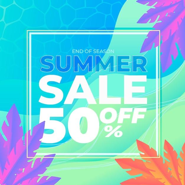 Mehrfarbiges sommerverkaufsbanner Kostenlosen Vektoren