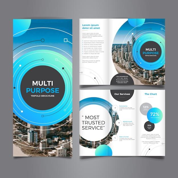 Mehrzweck corporate trifold broschüre Premium Vektoren