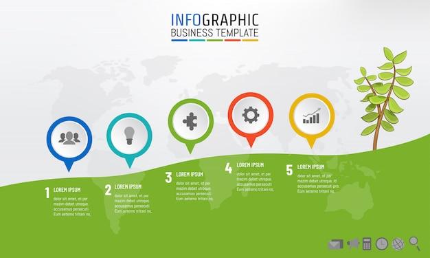 Meilensteinschablonenbergsteigen des geschäfts infographic Premium Vektoren