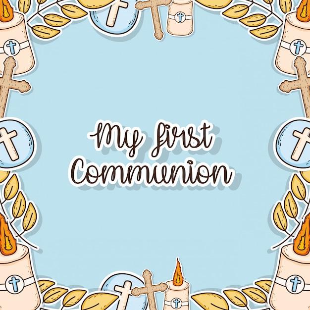 Mein erster kommunionsschmuck-event-hintergrund Premium Vektoren