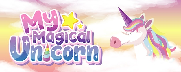 Mein magisches einhorn-logo auf rosa hintergrund Premium Vektoren