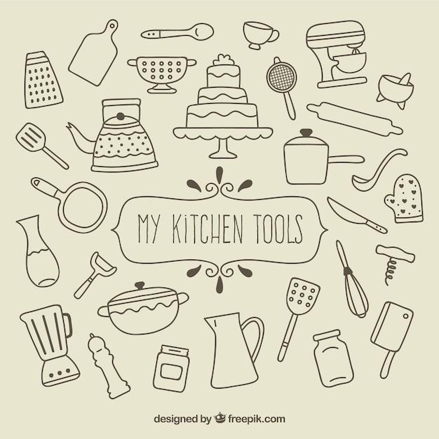 Meine küchenwerkzeuge Kostenlosen Vektoren