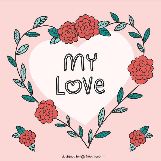Meine Liebe Romantische Karte Kostenlose Vektor