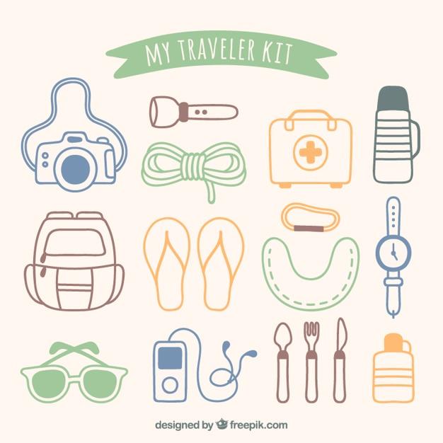 Meine reisenden kit Kostenlosen Vektoren