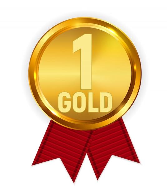 Meister goldmedaille mit rotem band. zeichen des ersten platzes Premium Vektoren
