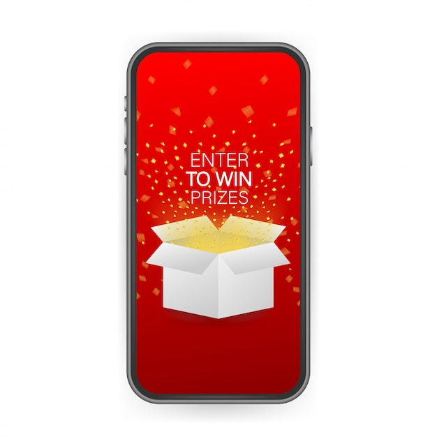 Melden sie sich an, um preise zu gewinnen. öffnen sie die rote geschenkbox und konfetti auf dem smartphone-bildschirm. preis gewinnen. lager illustration. Premium Vektoren