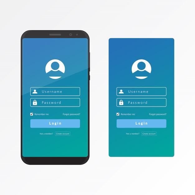 Melden sie sich in ui und ux mit einer smartphone-vektor-designvorlage an Premium Vektoren