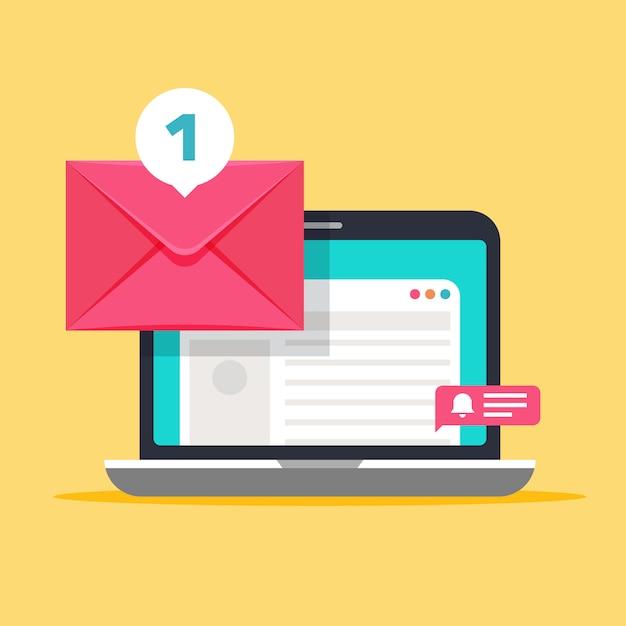 Meldung auf dem computerbildschirm. mailing-konzept mit umschlag und laptop Premium Vektoren