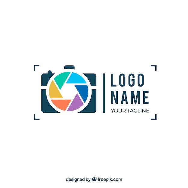 Membran-fotografie-logo in flachen stil Kostenlosen Vektoren