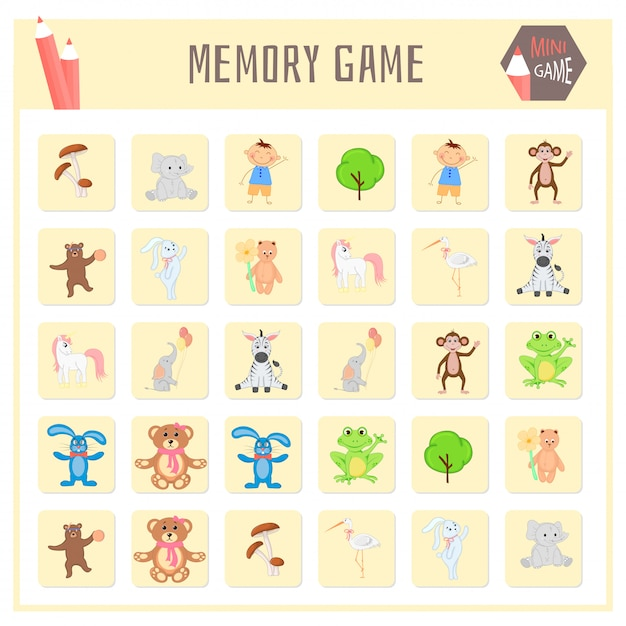 Memory-spiel für kinder, tierkarten vektorgrafiken Premium Vektoren