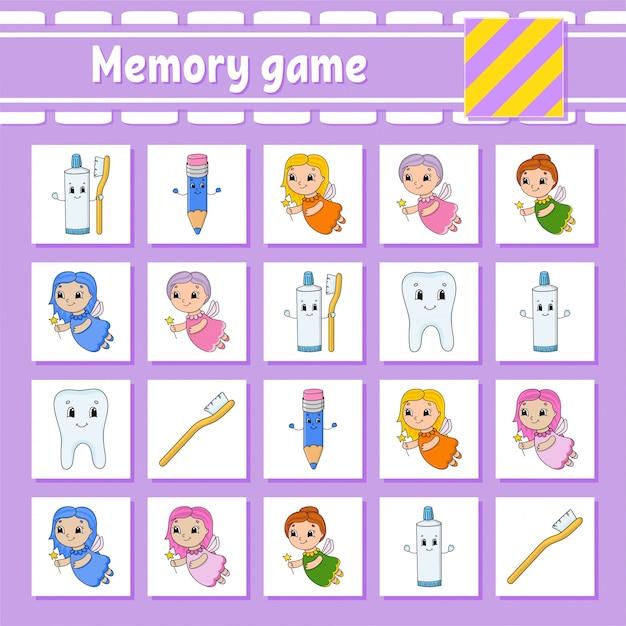 Memory-spiel für kinder. Premium Vektoren