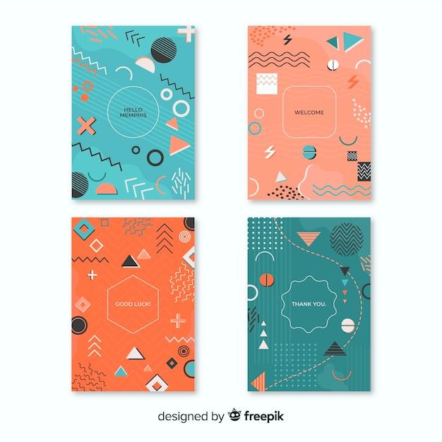 Memphis cover kollektion mit geometrischen formen Kostenlosen Vektoren
