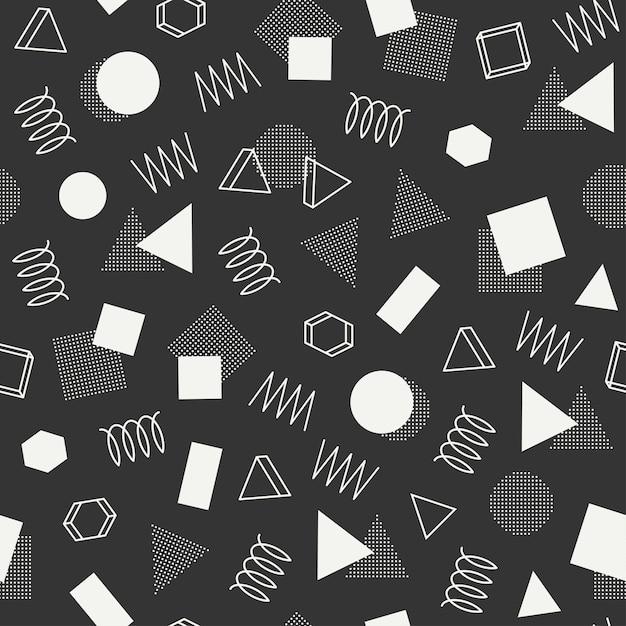 Memphis geometrische nahtlose muster. abstrakte durcheinanderbeschaffenheiten. dreieck. Premium Vektoren