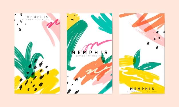Memphis-sommerfahnen-sammlungsvektor Kostenlosen Vektoren
