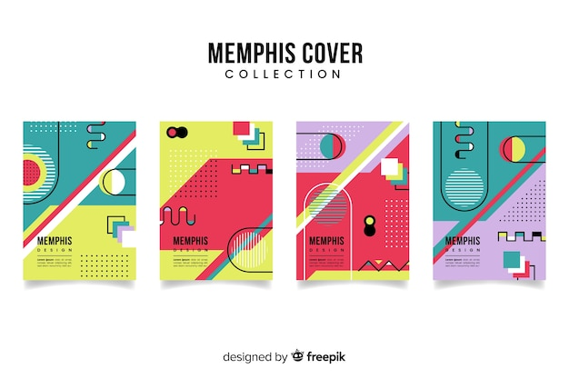 Memphis-stil broschürenvorlagensammlung Kostenlosen Vektoren
