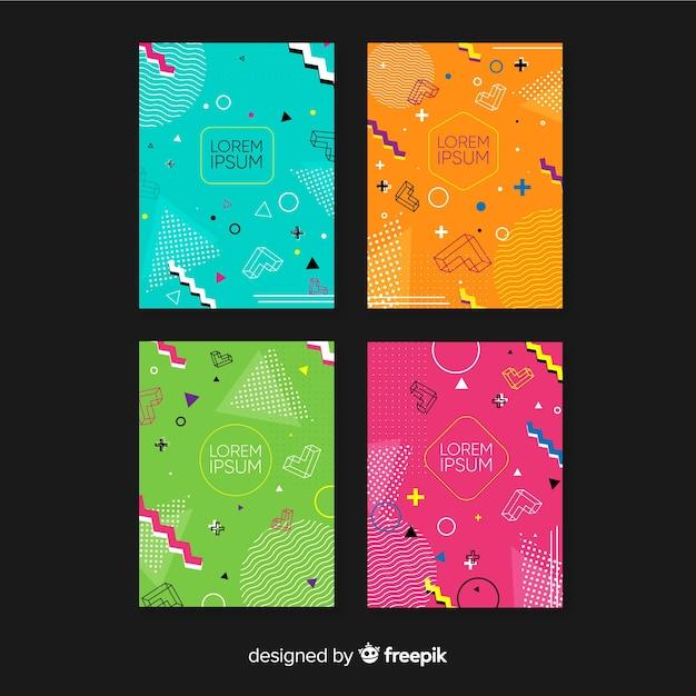 Memphis style broschüre sammlung Kostenlosen Vektoren