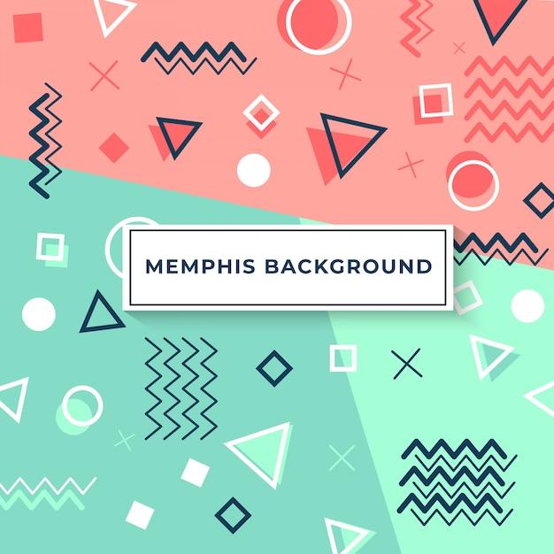 Memphis-style-cover mit geometrischen formen und mustern Premium Vektoren
