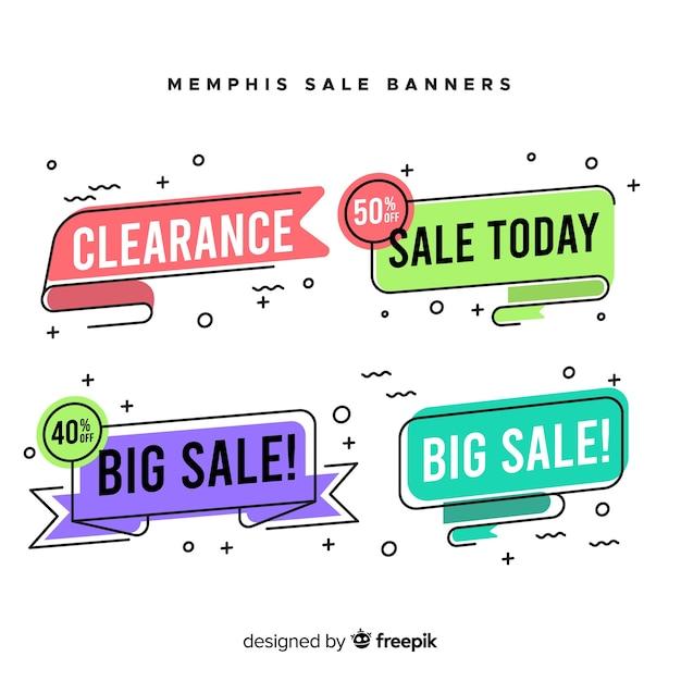 Memphis-verkauf-banner-sammlung Kostenlosen Vektoren