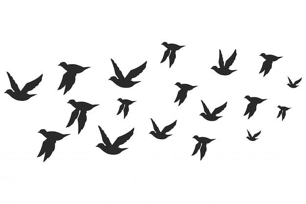 Menge der tauben oder der tauben schwärzen silhouette im fliegen Premium Vektoren