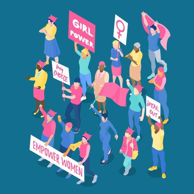 Menge protestierender weiblicher feministinnen mit plakaten und flaggen isometrische vektorillustration Kostenlosen Vektoren