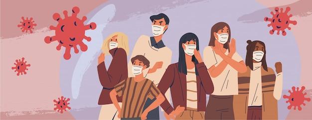 Menge von menschen, die medizinisches maskenbanner tragen. vorbeugende maßnahmen, schutz des menschen vor lungenentzündung. coronavirus-epidemie-konzept. atemwegserkrankungen, virusausbreitung. illustration Premium Vektoren