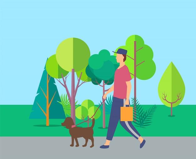 Mensch, der mit hund nahe bäumen, freizeit-vektor geht Premium Vektoren