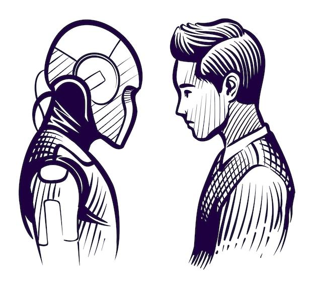 Mensch gegen roboter. konflikt zwischen künstlicher intelligenz und menschlichem verstand. mitarbeiter ersatz skizze vektorkonzept Premium Vektoren