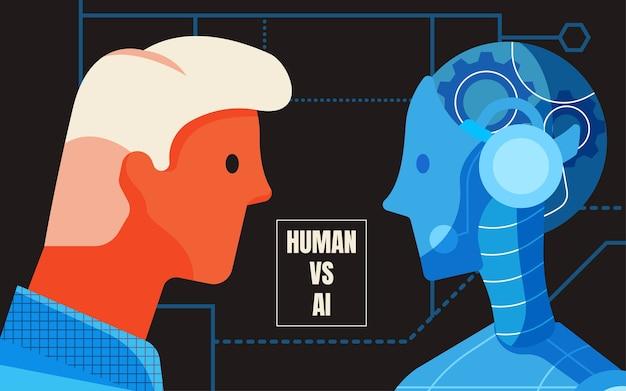 Mensch vs. konzept der künstlichen intelligenz Premium Vektoren