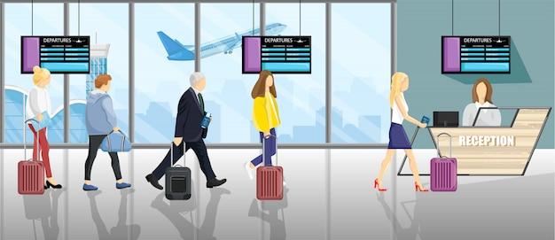 Menschen am flughafen Premium Vektoren