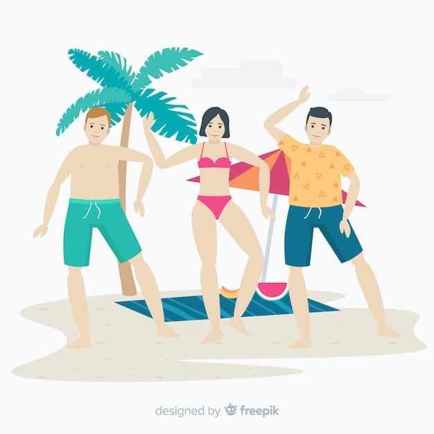Menschen am strand genießen den sommer Kostenlosen Vektoren