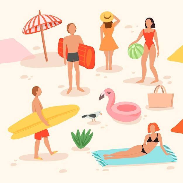 Menschen am strand machen verschiedene aktivitäten Kostenlosen Vektoren