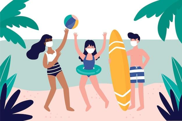 Menschen am strand tragen gesichtsmasken Kostenlosen Vektoren