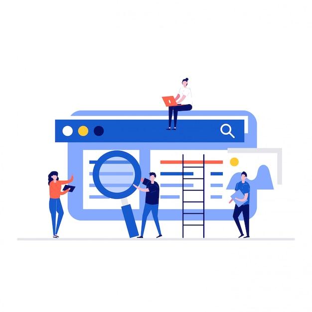 Menschen arbeiten gemeinsam an einem seo-optimierungskonzept mit charakteren und websites. Premium Vektoren