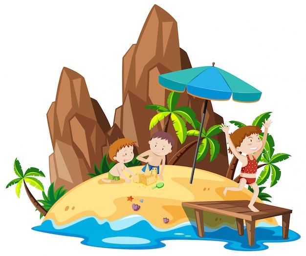 Menschen auf der strandinsel Kostenlosen Vektoren