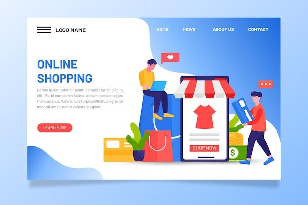 Menschen auf digitalen geräten online-shopping-landingpage Premium Vektoren