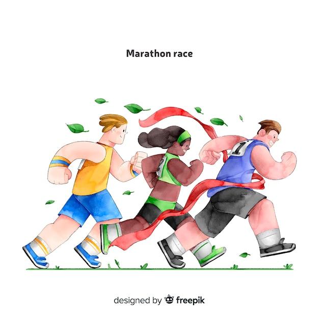 Menschen auf einem marathonlauf Kostenlosen Vektoren