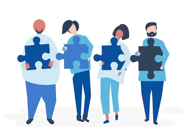 Menschen aus verschiedenen hintergründen tragen puzzleteile Kostenlosen Vektoren