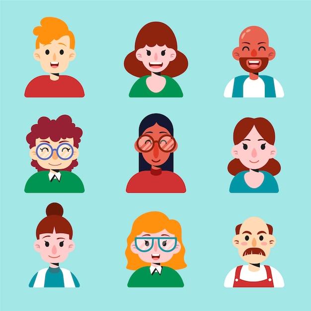 Menschen avatar pack Kostenlosen Vektoren