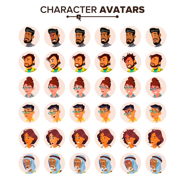 Menschen avatar set. Premium Vektoren