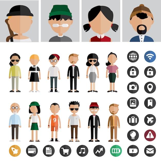 Menschen avatar-vektor Kostenlosen Vektoren
