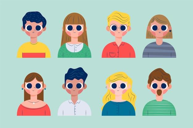 Menschen avatare illustration pack Kostenlosen Vektoren