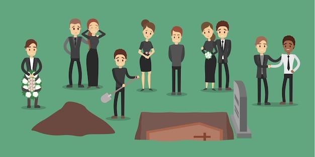 Menschen bei der beerdigung. den sarg begraben. Premium Vektoren